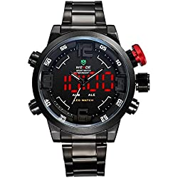 Alienwork DualTime LED Analogue-Digital Watch XXL Oversized Wristwatch Multi-function Stainless Steel black black OS.WH-2309-B-3