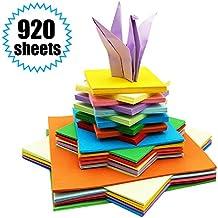 Carta da Origami - 920 Fogli Carta per Origami Colorati Tradizionale Piegatura Della Carta per Origami per Bambini ed Adulti Colori Assortiti