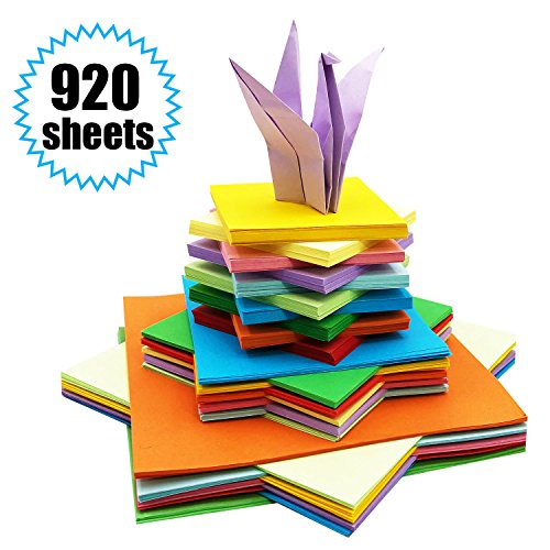 Origami-Papier - 920 Blatt Origami Papier Doppelseite Bastelpapier Origami Faltpapier Buntes Quadratisch für Origami und Bastelprojekte