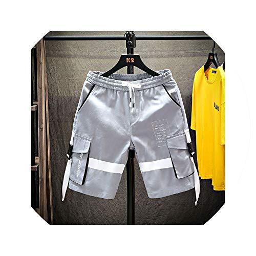 Men Comfortable Casual Cargo Shorts Hip Hop Clothing Shorts Summer Fashion Jogger Masculina Short Trousers Workout,Grey,4XL