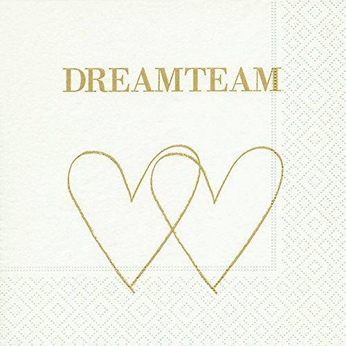 20 Servietten Dreamteam / Herzen / Liebe / Hochzeit 33x33cm
