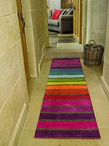 Illusion Candy Thick Hand Tufted Wool Stripes Rainbow Coloured Runner Rug in 4 Sizes (60 x 230 cm (2' x