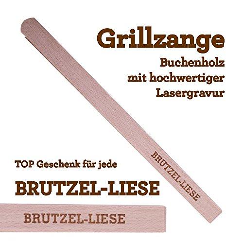 Grillzange Aus Holz Mit Hochwertiger Gravur Brutzel Liese
