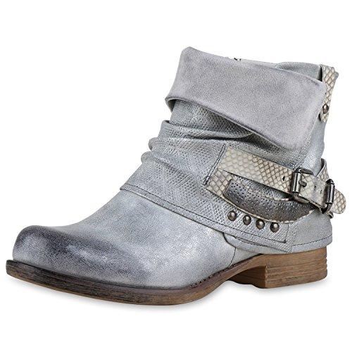 napoli-fashion , Bottes Motardes femme gris argent