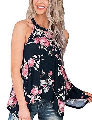 Top Damen Sommer Blumen Ärmelloses Shirt Locker Oberteile Bluse Tunika Tank Top -