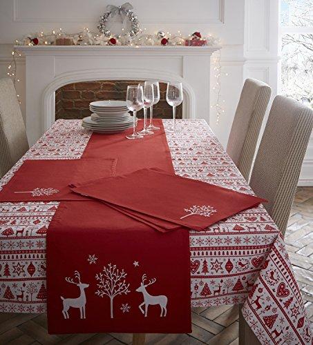 Weihnachtliche Tischdecke aus 100 % Baumwolle - Rechteckig (140 x 180cm) - Noel (Portfolio Abdecken)