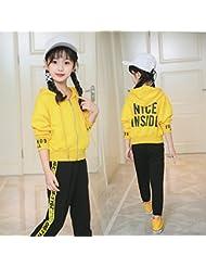 La primavera y el otoño ZYTAN suéter Niños Niñas pantalones traje traje de dos piezas, amarilla, de 130 metros de altura (110-120)