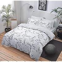 Juego de ropa de cama con funda de edredón, mármol gris/rosa, varios tamaños, algodón poliéster, Gris, matrimonio grande