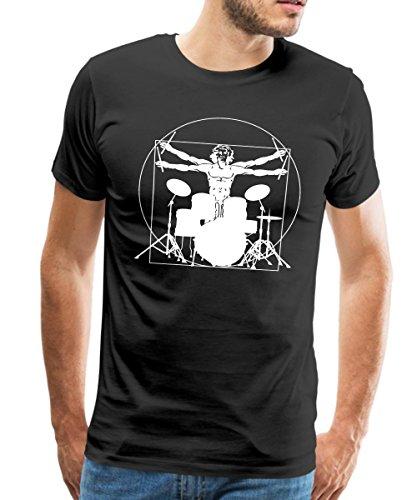 Spreadshirt Vitruvianischer Schlagzeuger Drummer Männer T-Shirt, M, Schwarz