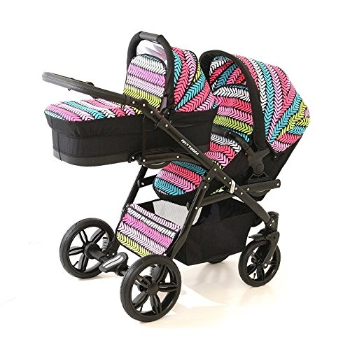 Double pram for twins. 2 carrycots + 2 buggies + 2 car seats. Blue + white ecoleather. BBtwin Berber Carlo Directly from the factory, warranty and advice. Made un the EU according to the regulations EN1888 and ECE44/04. Colour blue and silver with whote ecoleather, chassis black. Includes 2 carrycots, 2 buggy seats, 2 car seats, bag, 2 footcovers, 2 rain covers, 2 mosquito nets, lower basket, Features: lightweight aluminium frame, easy bending, adjustable handlebar, central brake, lockable front swivel wheels, shock absorbers, each buggy can be instaled independently in both directions, carrycots with a mattress and a washable cover, backrest adjustable in various positions, safety bar and harness of 5 points 5