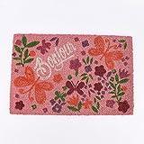 SCHÖNER LEBEN. Fußmatte Kokosmatte Schmetterling Blumen rosa orange 40x60cm