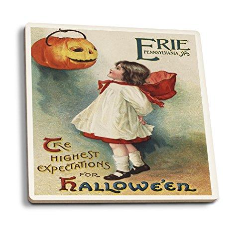 Erie, Pennsylvania-Halloween Grußkarte-Girl in rot und weiß-Vintage Kunstwerk, keramik, mehrfarbig, 4 Coaster Set