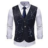 Sannysis Anzugweste Herren Männer Casual Plaid Gestreifte Print Jacke Ärmellose Mantel Britische Anzug Baumwoll Weste