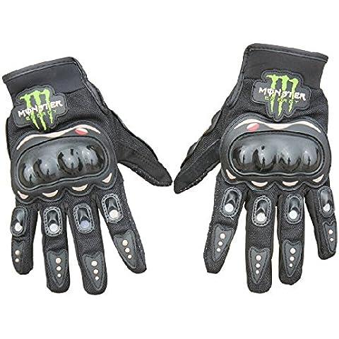 Fashion Cool–Guanti da moto bicicletta Full Finger Sports protettiva Estate traspirante guanti racing, Black, XL
