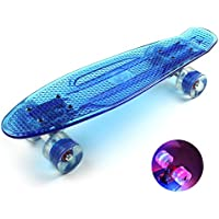 Mini Plastic Blue Skateboard for Adults With Rocking Cool Flashing LED Light Wheels - 8 Balancer