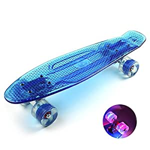 Mini Plastic Blue Skateboard for Adults With Rocking Cool Flashing LED Light Wheels