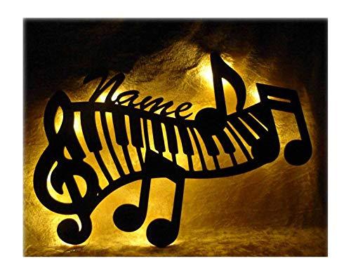 """Schlummerlicht24 Led Deko Lampe"""" Klavier Piano-Tasten"""" mit Name-n, Geschenk-e für Musiker-in Studio Musik-Lehrer Lehrerin Freund Freundin (Weiß)"""