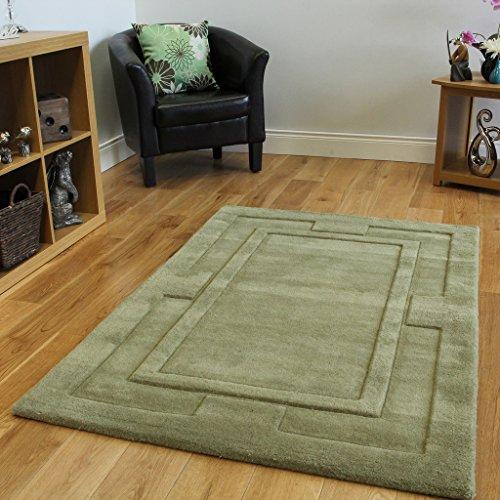 Alfombra moderna en lana 100%. Gruesa, de color verde plano. No se deshilacha. 4 Tamaños disponibles Elements