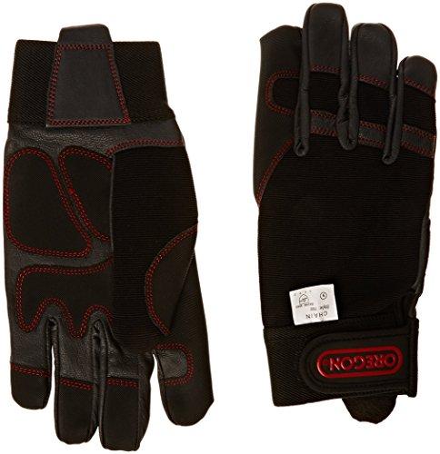 OREGON 295395 - Oregon Scientific elásticas de protección guantes de cuero 4 direcciones para el trabajo con Motosierras y Desbrozadora Talla M
