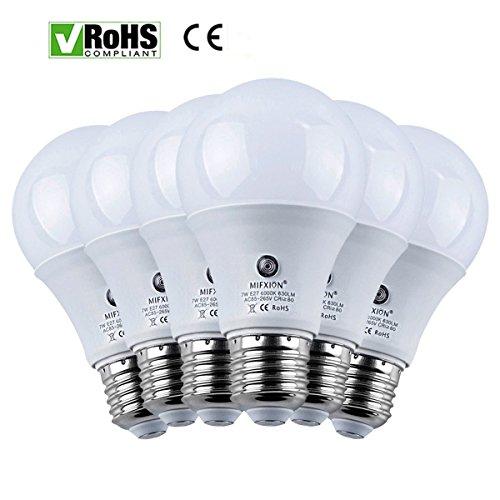 6er Pack E27Filter Trafo 7Watt 630Lumens für LED Sensor Leuchtmittel Licht Lampe für Veranda Flur Terrasse-eingebautem Photosensor Erkennung Automatische Schalter Energy Saver Leuchte Garage (6000K) (Filter Ersatz Nacht)