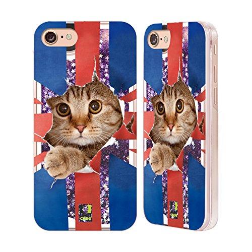 Head Case Designs Cucciolo Che Ascolta La Musica Animali Divertenti Custodia Cover con Glitter Liquidi Porpora per Apple iPhone 5c Gatto Che Sbircia Union Jack