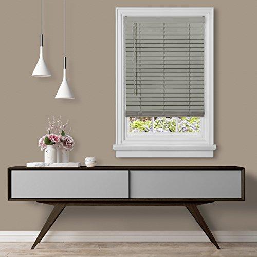 "Achim Home Furnishings Cordless GII Madera Falsa 2\"" Faux Wood Plantation Blind 29\"" x 64\"", Grey"