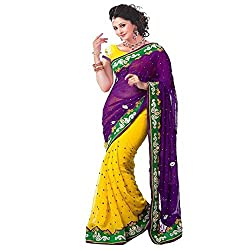 Muta Fashions Women's Chiffon Saree (MUTA253_17_Yellow_Free Size)