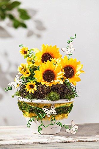 VBS Sonnenblume Bund ca. 30cm künstlich Tischdeko Hochzeit Frühling Deko Floristik Strauß Pick Gelb Blumen