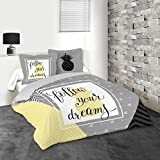 Lovely Casa Dreams Housse de Couette 2 Taies 63X63 cm, Coton, Gris, 240x220 cm