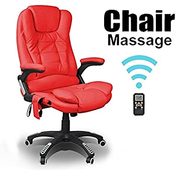 RIO RED RECLINING MASSAGE LEATHER OFFICE CHAIR W 6 POINT HIGH BACK COMPUTER DESK 360 SWIVEL