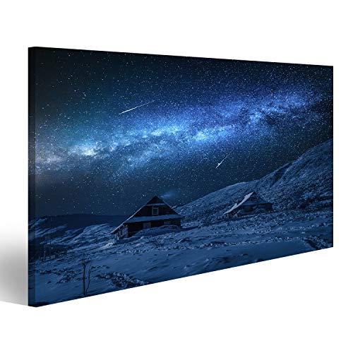 Bild Bilder auf Leinwand Kleine Hütten in den Winterbergen und der Milchstraße Wandbild Poster Leinwandbild TQT