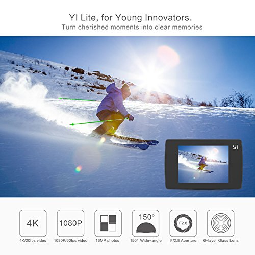"""YI Lite 4K Action Camera Ultra HD 16MP Wifi Bluetooth Sports Camera With 2.0"""" LCD Touchscreen Built-in Microphone Sony Sensor (Black-Camera Only)"""