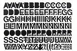 Selbstklebende Großbuchstaben Folie schwarz, 50 mm, 1 Bogen Anzahl der Großbuchstaben: A,E,I,N, je 5x B,C,D,F,G,H,K,L,M,O,P,R,S,T,U, je 4x V, je 3x J,W,Z, je 2x Q,X,Y, je 1x