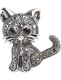 9aec464bc Lalang Crystal Cat Brooches Pins Christmas Wedding Gift for Women