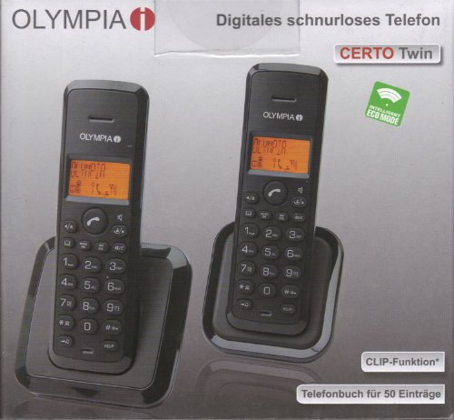 Olympia Certo Twin - Analoge Dect Station mit 2 Handtelefonen, antrazit - Twin-dect-telefon