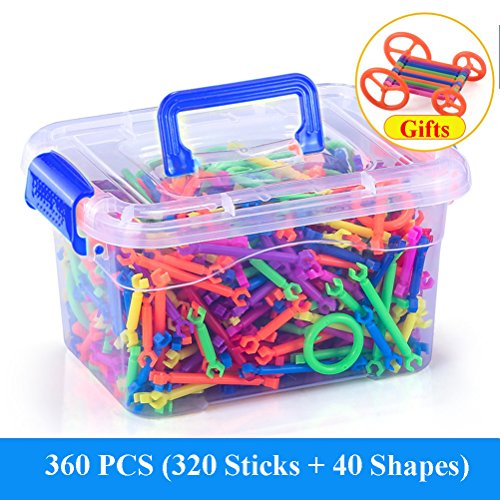 Building Blocks Toy, Building Construction Toy DIY Creative Plastic Engineering Toys 3D Puzzle Toys Educational Sticks Building Blocks Toys for Kids Children Gift (360 PCS)
