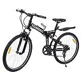 Ridgeyard 26' 7 Vitesses Folding Bike Pliable vélos Vélo de Montagne Shimano (Noir)