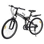 "517 c6V s7L. SS150 Ridgeyard 26"" 7 velocidades Pieghevole Bici Pieghevole Bicicletta Mountain Bike Shimano (Negro)"