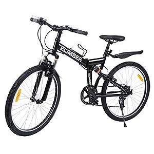 "517 c6V s7L. SS300 Ridgeyard 26"" 7 velocidades Pieghevole Bici Pieghevole Bicicletta Mountain Bike Shimano (Negro)"