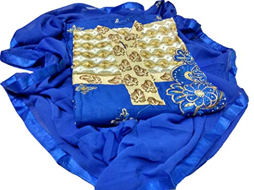 Redly Women Dress Material Cotton Silk Latest Designer Party Wear Embroidered zari stone work for Chudidar Shalwar Plazzo (color_Blue_free size)