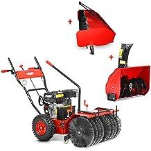 HECHT Benzin-Kehrmaschine 8616 SE Multifunktionsgerät Kehrbesen Kehrbürste + 230V Elektro-Start Funktion (inkl. Auffangbox und Schneefräse)