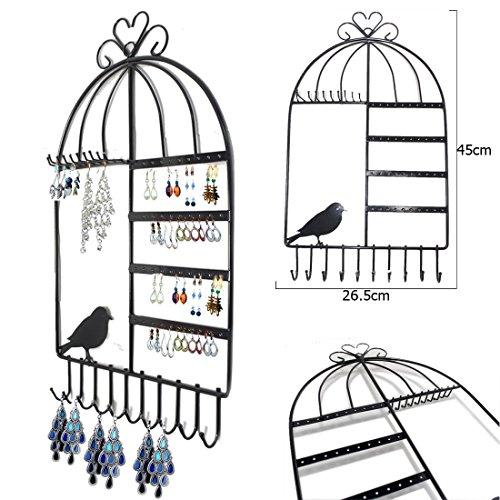 JJOnlineStore–Vogelkäfig Design Wandhalterung Jewelry Kleiderbügel zum Aufhängen Shabby Chic Ohrring Halskette Schmuck Display Organizer Ständer Rack schwarz