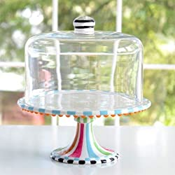 Glitterville Covered Birthday Pedestal Cake Stand, Multi-colored, 12 Inch Tall X 11.25 Inches
