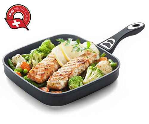 ROSMARINO Grillpfanne für Induktion - 5 Lagen Mineralien Beschichtung für Alle Kocheflder- No.1.Induktionsgeeignete Steakpfanne für Grill
