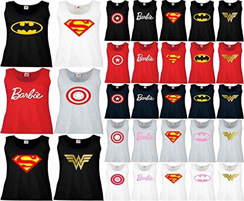 Wonder Womens t Shirt WW Barbie Superman Captain America Vest Tank Top XS-2XL