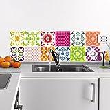 Ambiance-Live 12Aufkleber Fliesen | Sticker Selbstklebend Fliesen–Mosaik Fliesen Wandtattoo Badezimmer und Küche | Fliesen Kleber–Mehrfarbig–10x 10cm–12-teilig