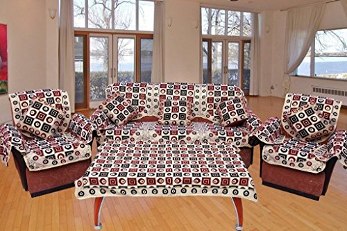 FAB NATION 10 SOFA COVERS with arm covers , 5 CUSHION COVERS & TABLE COVER COMBO - MAROON Handloom Cotton sofa cover FOR 3+1+1 SOFA WITH ARM COVERS