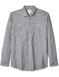 Amazon Essentials - Camisa de cambray con manga larga y corte recto para hombre