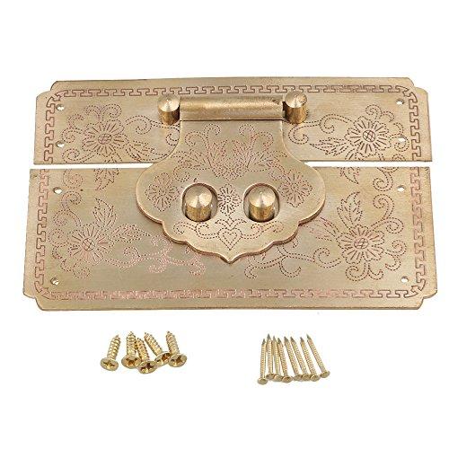 bqlzr 122x 82mm Vintage geschnitzt Blumen Messing Dekorative Lock-Verriegelung Catch Überfalle für Jewelry Box Holzbox Wein Box (Messing-schrauben Mit Holz 8 X 1 2)