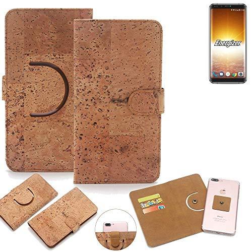 K-S-Trade Schutz Hülle für Energizer P600S Handyhülle Kork Handy Tasche Korkhülle Schutzhülle Handytasche Wallet Case Walletcase Flip Cover Smartphone